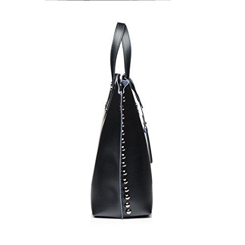 Almo - Borsa in pelle da donna made in Italy, a tracolla, a spalla con tracolla staccabile Nero