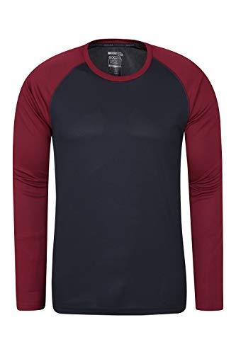Mountain Warehouse Camiseta Endurance para Hombre - De Manga Larga, Secado rápido, Transpirable y con protección UPF 30 - para Primavera, excursiones, Viajes y acampadas Rojo Oscuro XXX-Large