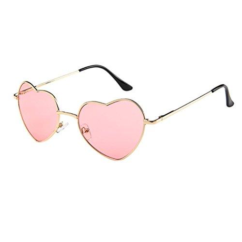 Dragon868 Mens Womens Sunglasses Metal Frame Damen Herz Form Sonnenbrille Lolita Liebe Sonnen-Überbrille UV400 Schutz (F)