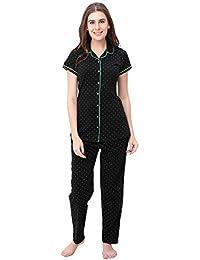SWEETNIGHT Women's Premium Cotton Dot Print Half Sleeves Night Suit and Shirt Set