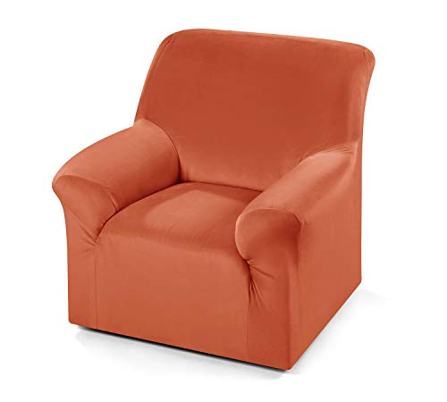 Beautex Maya Samt Sofahusse für Ecksofa, Clubsessel, 1er, 2er, 3er Sitzer, elastische Stretch Husse, Farbe wählbar (1-Sitzerhusse Terra)