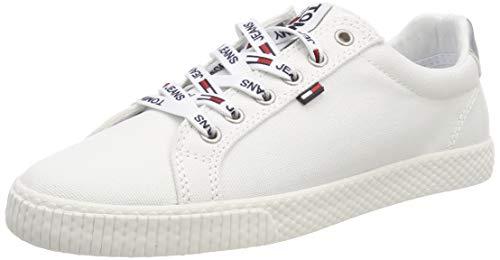 Hilfiger Denim Damen Tommy Jeans Casual Sneaker, Weiß (White 100), 38 EU (Casual Schuhe Frauen)