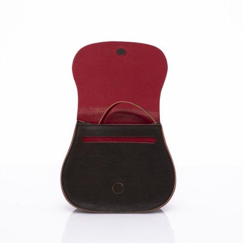 Slowbag SLOW BALL Exklusive handgemachte Handtasche für Damen Naturleder dunkelbraun&dunkelrot