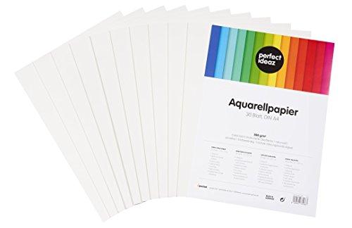 perfect ideaz 30 Blatt DIN A4 Aquarell-Papier 300g, Mal- & Zeichen-Block in weiß, Wasser-Farben Karton strukturiert & matt, watercolor paper für Skizzen, Aquarelle, Lavis, Gouache, Tempera & Acryl