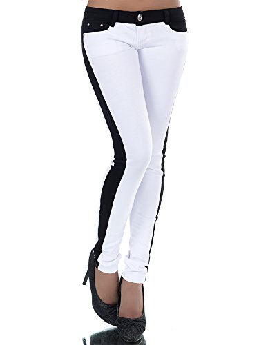 MEMBRANE N392 Damen Hose Treggings Leggings Stoffhose Freitzeithose Röhrenhose Leggins, Größen:34 (XS), Farben:Weiß-Schwarz (Super Diva Kostüm)