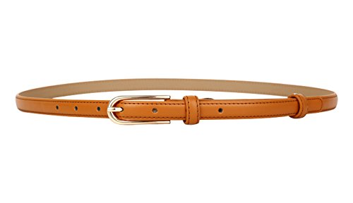 MARRYME Damen Ledergürtel Jeansgürtel Taillengürtel Schmal Gürtel für Kleider Kürzbar Belt Länge 107cm Braun