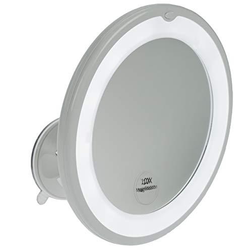 Fantasia LED Kosmetikspiegel mit 10-fach Vergrößerung, Premium LED Schminkspiegel Ø 17,5cm rund mit Saugnapf, Acryl Make-Up-Spiegel für zuhause und unterwegs, Innen Ø 13,0 cm -
