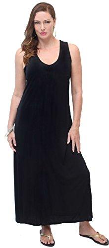LOTUSTRADERS Damen V-Ausschnitt Maxi Kleid Dunkelbraun