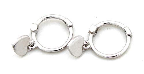 Kleiner O-ring (Musthaves Damen Kreolen mit Herz - Ohrringe aus 925er Sterlingsilber - Ø Ring 10 mm)