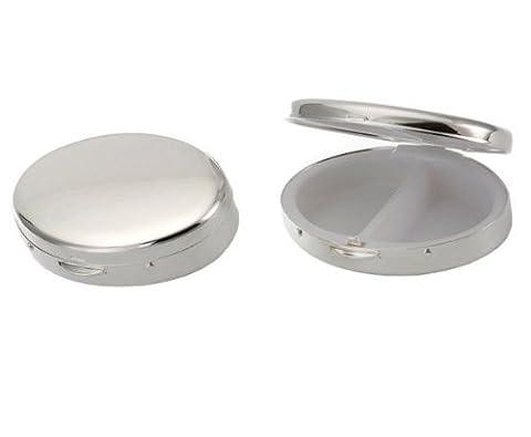 Silberkanne Boîte à médicaments ovale avec 2 compartiments Argenté 6,5 x 4,5 x 1cm