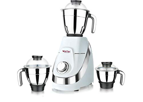 Wistec 750 Watt Mixer Grinder Juicer with 100% Pure Copper Motor and 3 Stainless Steel Jar(White and Black)-Made in India