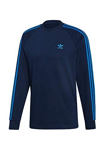 adidas Originals Longsleeve Herren 3-Stripes LS T EK0256 Blau, Größe:L -
