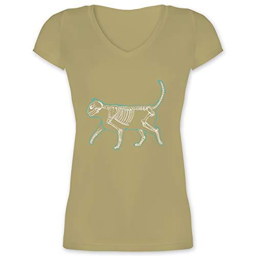 Spooky Katze Kostüm - Katzen - Spooky cat - XL - Olivgrün - XO1525 - Damen T-Shirt mit V-Ausschnitt
