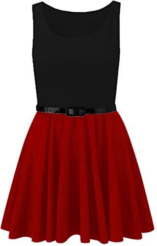 Chocolate Pickle® Neue Damen Plus Größe Farbe kontrast Belted Schlittschuhläufer Kleid Oben 44-54 Red