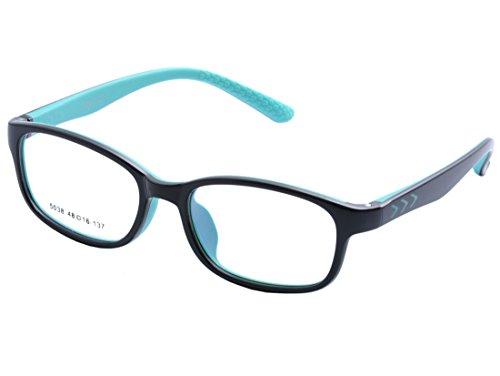DEDING Kinder optische Brillenfassung mit Federscharnier (Schwarz Grün)