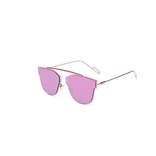 WJFDSGYG Rosa Sonnenbrille Frauen Designer Metallrahmen Spiegel Flachbildschirm Objektiv Sonnenbrille Für Frauen