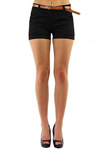 Damen Hotpant Chino Shorts Kurze Hose mit Gürtel (278), Grösse:XL / 42, Farbe:Schwarz