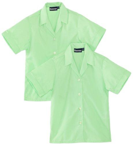 Blue Max Banner Girl's Revere Twin Pack Short Sleeve School Blouse