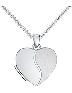Foto Medaillon Herz Silber 925 Herzkette Herz Anhänger zum Öffnen mit Kette inkl. GRATIS LUXUS-Etui + - Herz Amulett...