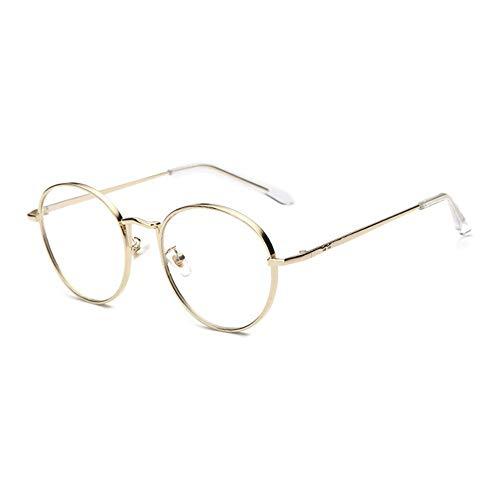 QDE Sonnenbrillen Brillengestell Metall Frauen Brillen Goldrahmen Retro Kreisförmige Transparente Brillengläser, Gold