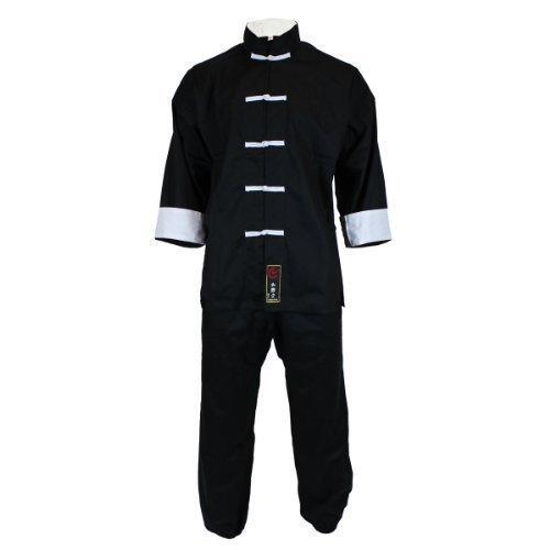 Tai Chi Anzug in klassischem Design, 100% Baumwolle, schwarz, Größe 160 (Anzug Klassischen)