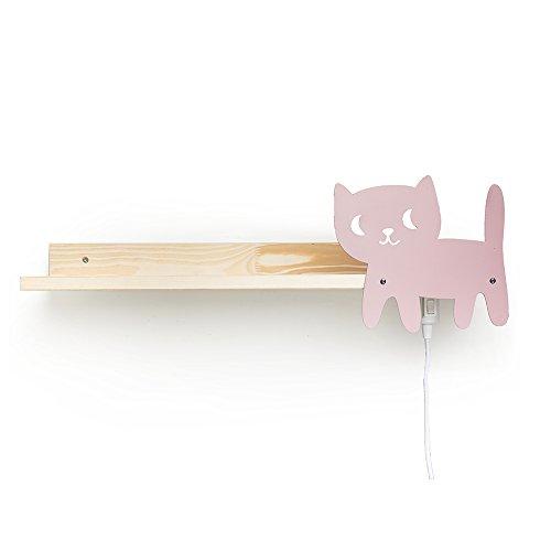 Julica Design Kinder Bücherregal mit Wandlampe | Motiv: Katze (Rosa) - Mädchen -