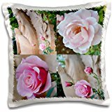 Patricia Sanders Flowers - Sacred Garden Collage- Roses- Flowers- Photography - 16x16 inch Pillow Case