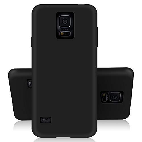 SDTEK Custodia Samsung Galaxy S5 (Nero) Cover Case Bumper Caso Matte Matte Silicone Gel per Samsung Galaxy S5
