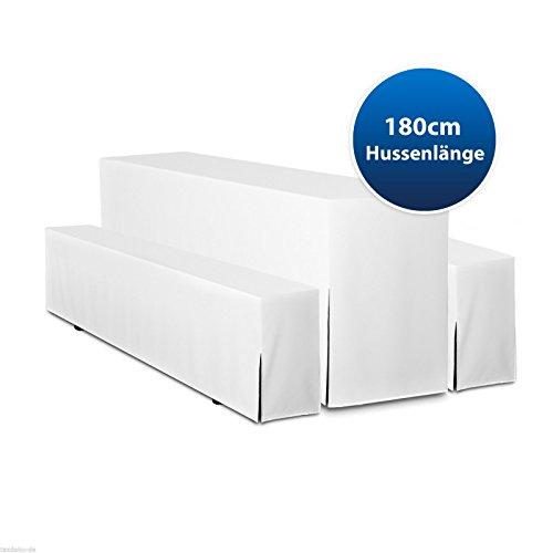 Hussen für Bierzeltgarnitur Premium 180cm Hussenlänge 3tlg Set. (Weiß, Tischbreite 50cm)