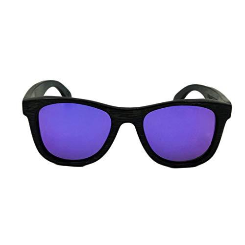 Yiph-Sunglass Sonnenbrillen Mode Vintage Full Frame Ecologic Schwarz Bambus Sonnenbrille Farbige Linse UV400 Schutz Für Männer Frauen. (Farbe : Lila)