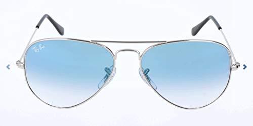 Ray Ban Sonnenbrille Aviator, 58 mm, Gestell: Silber, Gläser: Blauer Grad