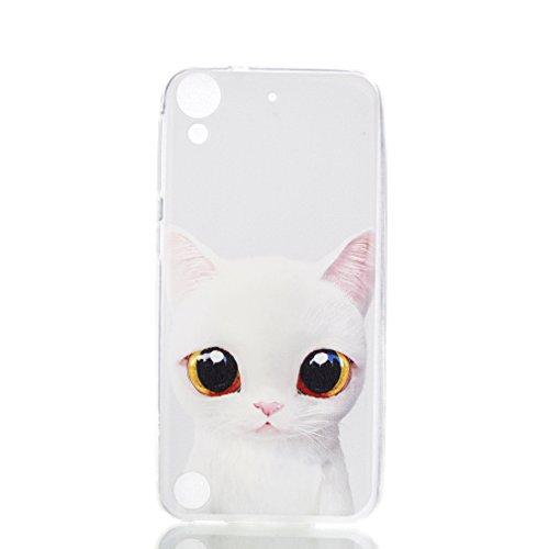 LMAZWUFULM Hülle für HTC Desire 650 / 626G / 628 (5,0 Zoll) Weiche TPU Schutzhülle Silikon Handyhülle Weiße Katze mit Großen Augen Muster Flexible Rückschale Cover für HTC Desire 650 / 626G / 628
