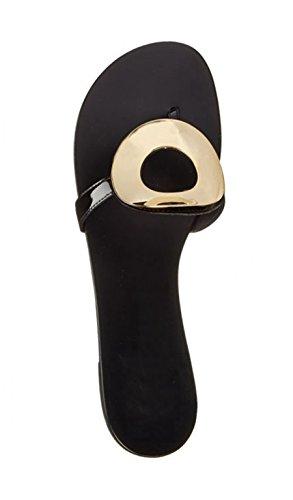 Minitoo–Appartamenti in pelle Flip Flop brevetto ma52526alla moda Casual Pantofole Black