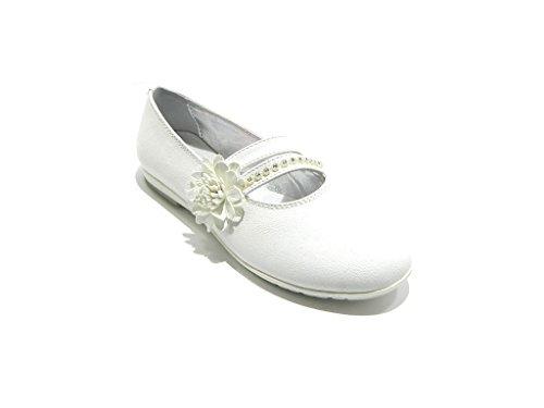 ASSO ballerina bianco scarpe bambina eleganti strass pelle