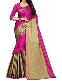 Premium Choice Women's Cotton Silk Embroidered Saree With Blouse Piece - PP01_Pink_Free Size