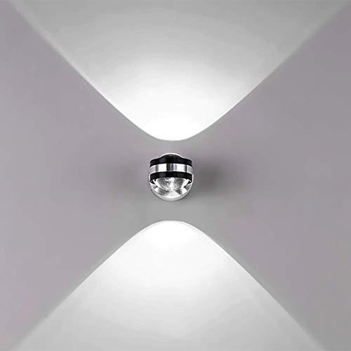 Louvra Lampada da Parete Interno Applique da Parete Interni Moderna di Alluminio Forma Sfera 6W per Camera da Letto, Soggiorno Bagno Bianco Freddo