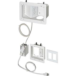 Arlington TVB712BK-1 Angled Box In-Wall Wiring Kit, Pre-Wired TV Bridge, 2-Gang, White, 1-Pack by Arlington Industries