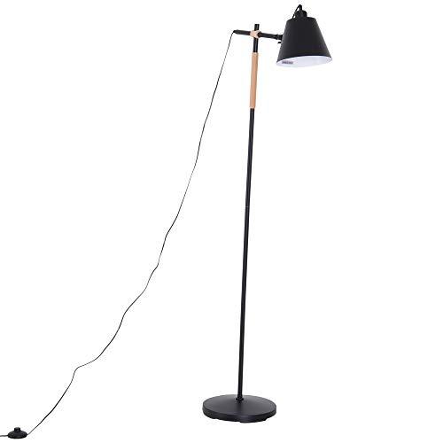 HOMCOM Lámpara de Pie Industrial Vintage para Dormitorio Estudio Salón con Luces E27 40W Pulsador de Pie Pantalla Ajustable 54x30x155cm