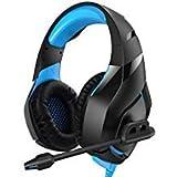 Runmus Gaming-Kopfhörer für PS4, Xbox One (Adapter erforderlich), Nintendo Switch etc. PC Gaming Headset Stereo Surround Sound, LED Beleuchtung & Rauschunterdrückung Mikrofon blau blau