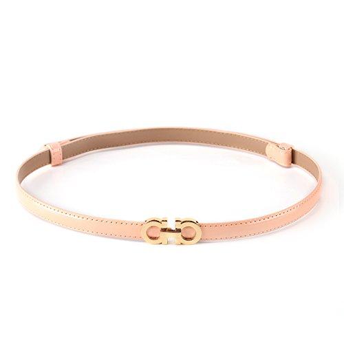kaleido-donna-elegante-regolabile-solido-colore-skinny-cintura-in-vita-light-pink-taglia-unica