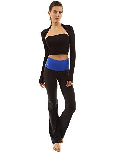 PattyBoutik femmes façonner série bootcut pantalons de yoga bleu et noir