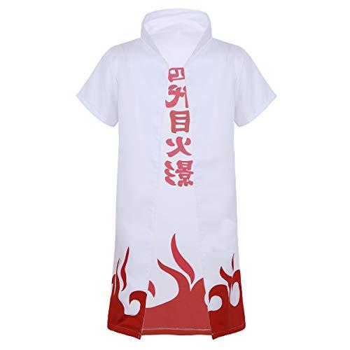 Hokage Kostüm - dPois Erwachsene Japanische Anime Umhang Mantel Kurzarm mit Stehkragen Rollenspiel Kleidung Unisex Cosplay Kostüm Weiß Weiß Small