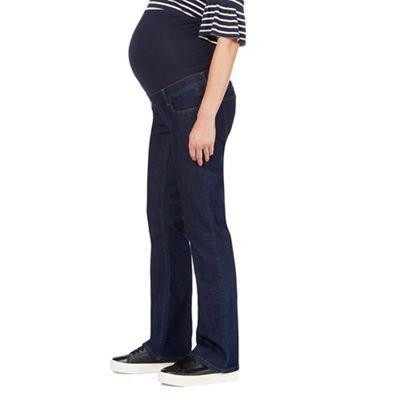 Womens Classic Bootcut fit Over The Bump Elasticated Waist Denim Maternity Jeans Dark Blue 8 Regular