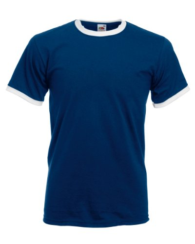 fruit-of-the-loom-camiseta-de-manga-corta-con-bordes-de-diferente-color-para-hombres-grande-l-azul-m