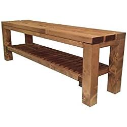 Banc pour chausser banquette de jardin en bois exterieur interieur balcon terrasse parc 150x38.5x50H également disponible sur mesure!