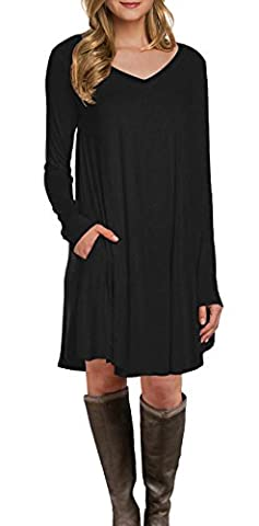 LILBETTER Women's Long Sleeve Pocket Casual Loose T-Shirt Dress Black UK M