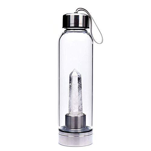 CTlite Kristall-Trinkflasche, 500 ml, Reise-Edelstein-Glas-Wasserflaschen, verziert mit natürlichem Quarzkristall-Zauberstab, White Crystal