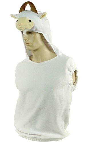 Mouton Costume Halloween Sheep Suit Pull Revêtement Femme Masque de carnaval avec blanc 4680