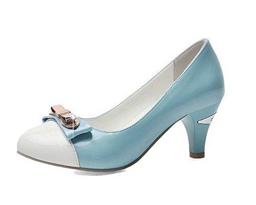VogueZone009 Femme Rond Tire Pu Cuir Mosaïque à Talon Correct Chaussures Légeres Bleu