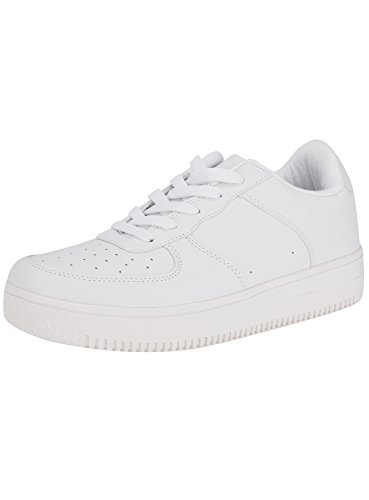 oodji Ultra Donna Sneakers in Pelle Sintetica con Suola Alta, Bianco, 41 EU / 7 UK